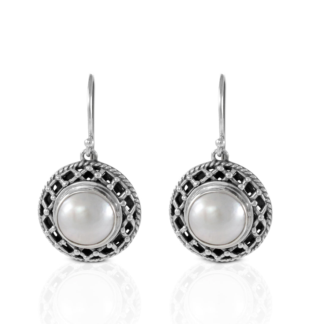 Celtic round white mabe pearl set in 925 sterling silver, beautiful dangle earring for women - SUVARNASILVERCO.,LTD