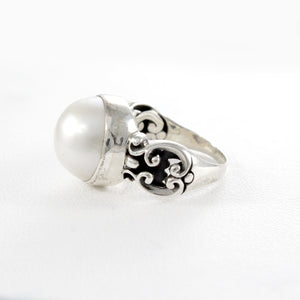 genuine round white mabe ring with wide band set in 925 sterling silver, - SUVARNASILVERCO.,LTD