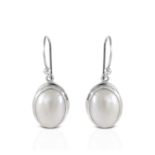 Load image into Gallery viewer, Oval white mabe pearl earrings set in 925 sterling silver, beautiful dangle earring for women - SUVARNASILVERCO.,LTD