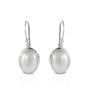 Oval white mabe pearl earrings set in 925 sterling silver, beautiful dangle earring for women - SUVARNASILVERCO.,LTD