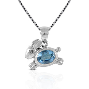 rabbit pendant with genuine blue topaz set in 925 sterling silver , beautiful pendant for women