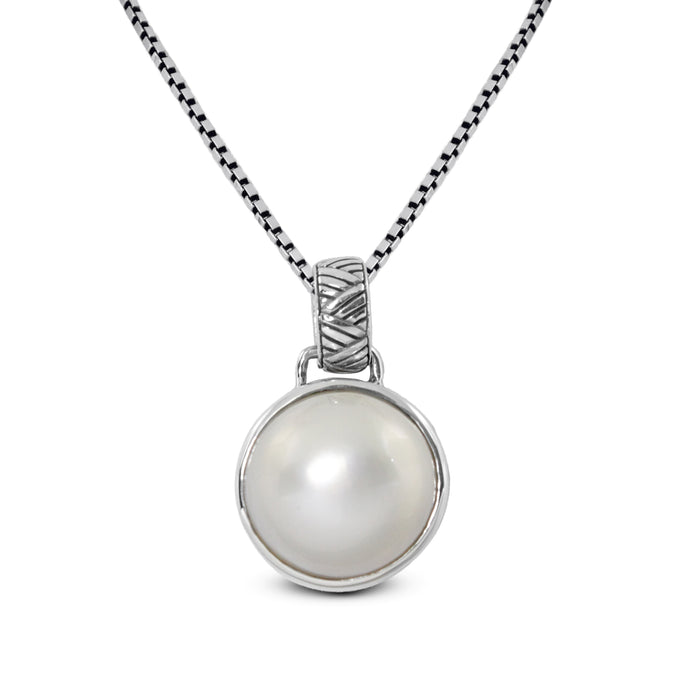 Dyed Round Mabe Pearl Cultured Set in 925 Sterling Silver Pendant - SUVARNASILVERCO.,LTD
