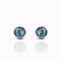 Load image into Gallery viewer, Premium genuine swiss blue topaz set in 925 sterling silver stud earring, beautiful stud earring for woman - SUVARNASILVERCO.,LTD