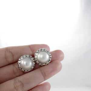 genuine round white mabe post earring set in 925 sterling silver, - SUVARNASILVERCO.,LTD