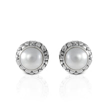Load image into Gallery viewer, genuine round white mabe post earring set in 925 sterling silver, - SUVARNASILVERCO.,LTD