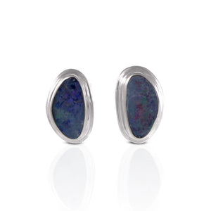 Genuine AAA fire doublet opal earstud set in 925 Sterling silver , beautiful earrings for woman - SUVARNASILVERCO.,LTD