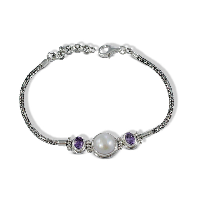 Legendary combination amethyst with white mabe pearl set in handmade silver chain - SUVARNASILVERCO.,LTD