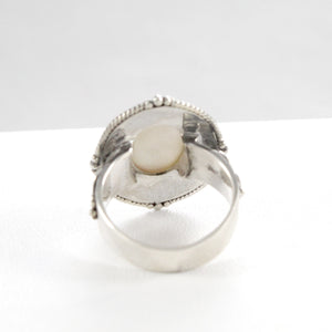 Filigree Bali design with natural mabe cultured pearl ring set in 925 sterling silver - SUVARNASILVERCO.,LTD