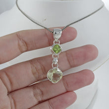 Load image into Gallery viewer, 925 sterling silver pendant with genuine peridot and green amethyst, beautiful pendant for women