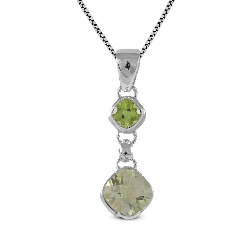 925 sterling silver pendant with genuine peridot and green amethyst, beautiful pendant for women