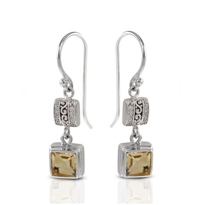 decorative filigree at sides design earrings with genuine citrine and white cubic zircornia set in 925 Sterling silver - SUVARNASILVERCO.,LTD