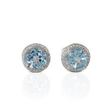 Load image into Gallery viewer, 925 Sterling Silver Ear stud with Genuine Blue Topaz Stone and White Circonia - SUVARNASILVERCO.,LTD