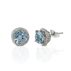 925 Sterling Silver Ear stud with Genuine Blue Topaz Stone and White Circonia - SUVARNASILVERCO.,LTD