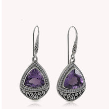 Cargar imagen en el visor de la galería, Filigree teardrop earrings with genuine amethyst and white cubic zirconia set in 925 sterling silver, beautiful amethyst earrings for woman - SUVARNASILVERCO.,LTD