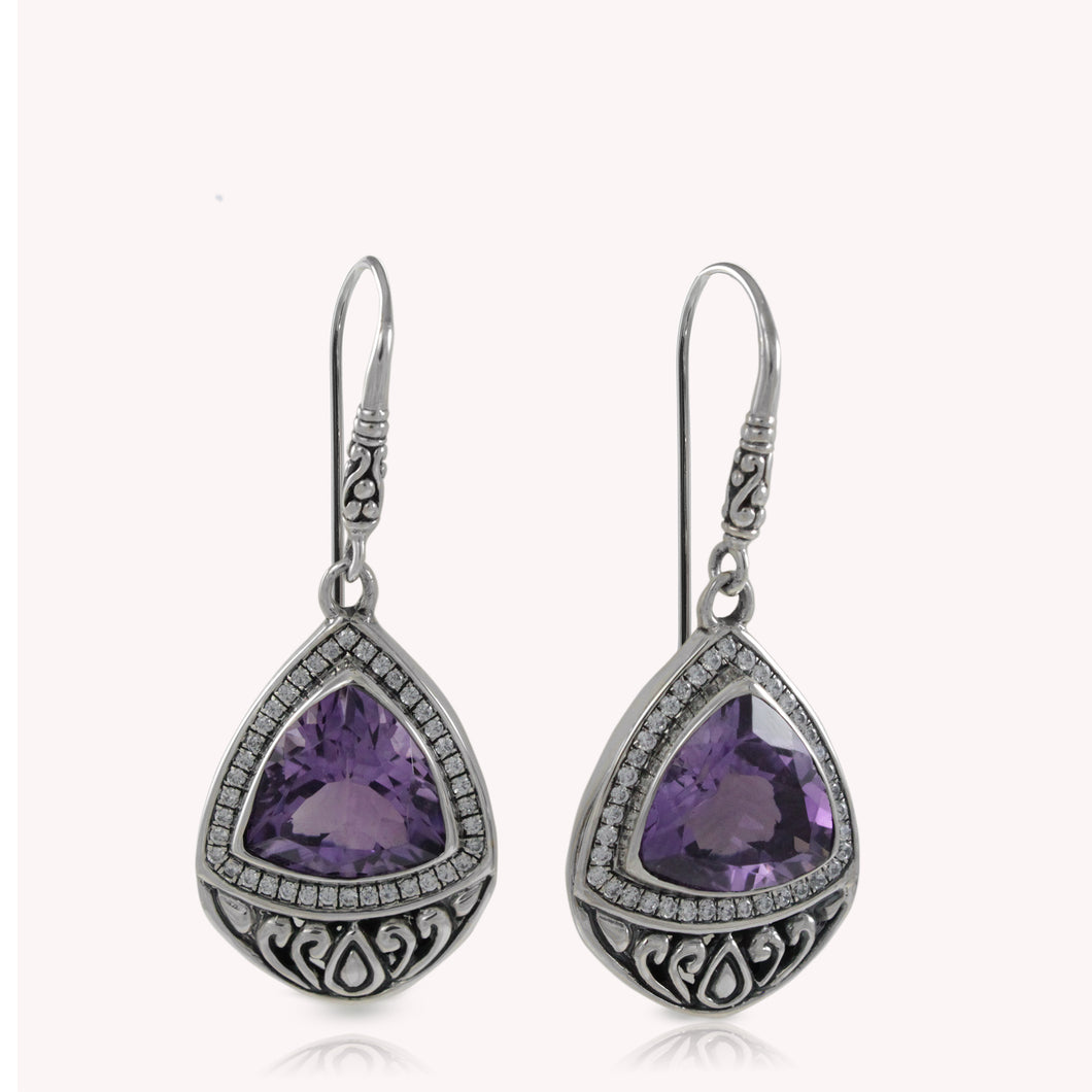 Filigree teardrop earrings with genuine amethyst and white cubic zirconia set in 925 sterling silver, beautiful amethyst earrings for woman - SUVARNASILVERCO.,LTD