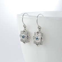 Load image into Gallery viewer, Flower earrings with genuine blue topaz and white cubic zirconia set in 925 sterling silver, beautiful flower earrings for woman - SUVARNASILVERCO.,LTD