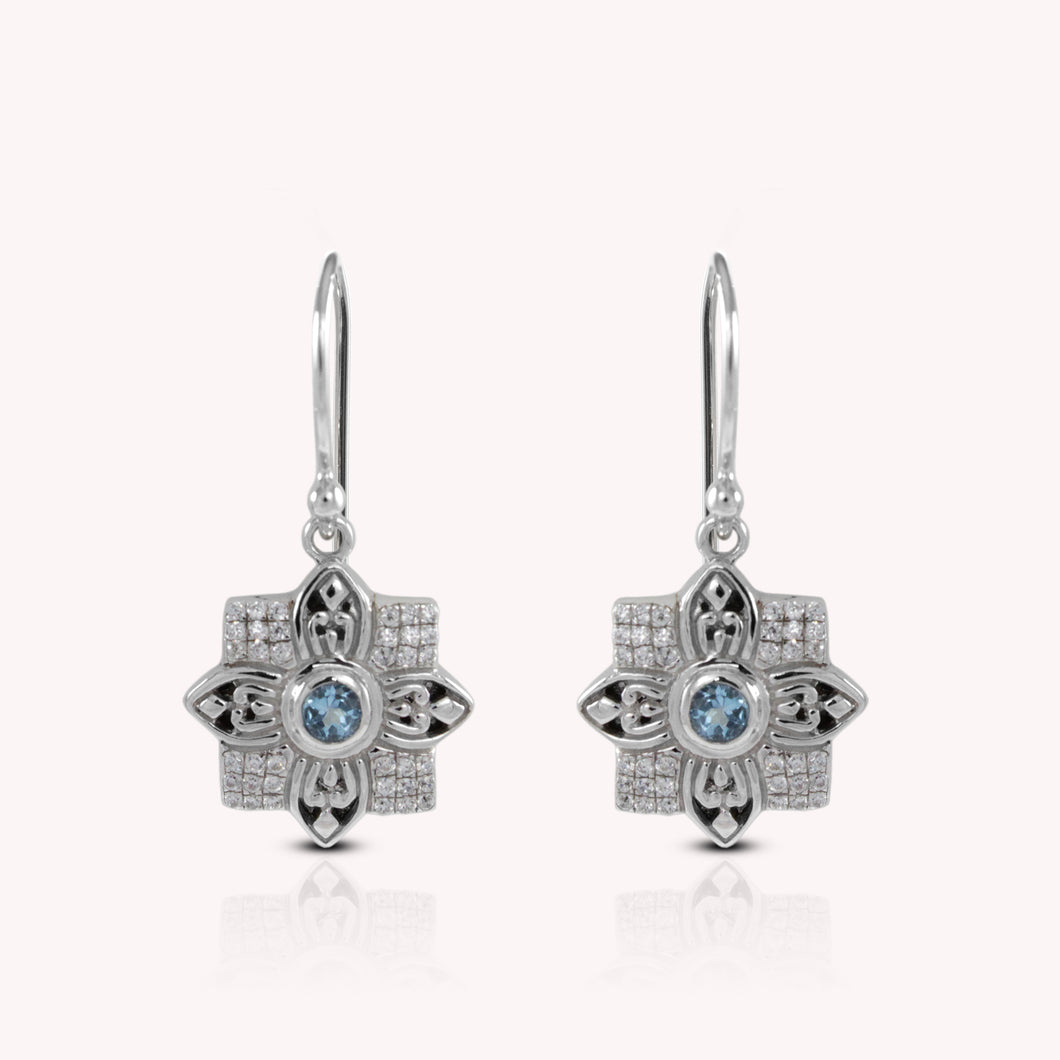 Flower earrings with genuine blue topaz and white cubic zirconia set in 925 sterling silver, beautiful flower earrings for woman - SUVARNASILVERCO.,LTD