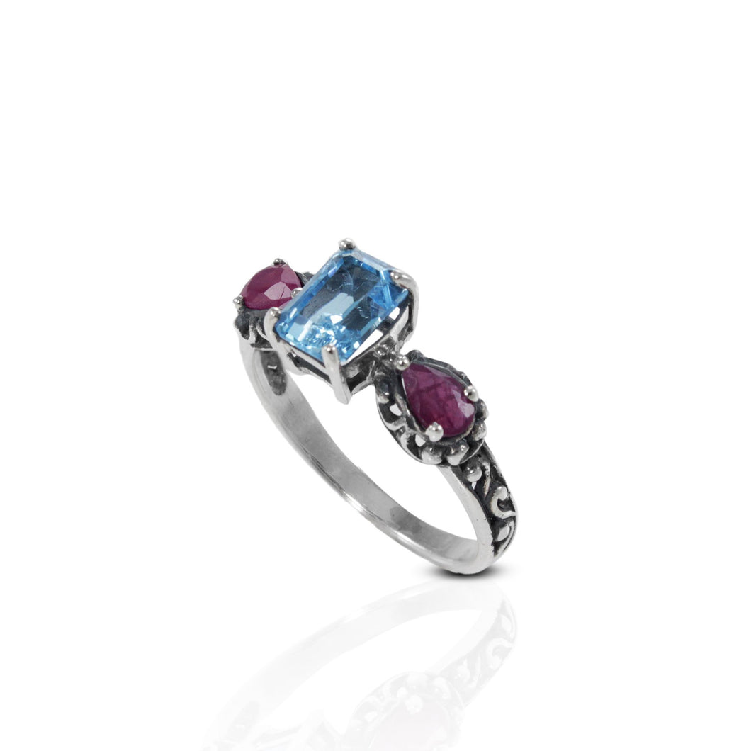 Bali Design ring, 925 sterling silver ring with genuine gemstone - SUVARNASILVERCO.,LTD