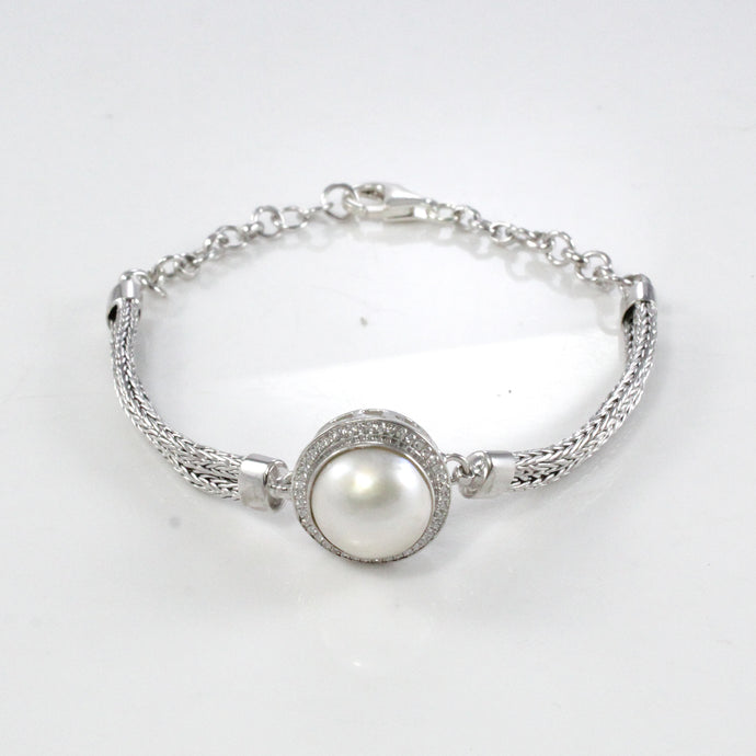 Cultured sea white mabe pearl with diamond accent set in 925 sterling silver snake bone chain - SUVARNASILVERCO.,LTD