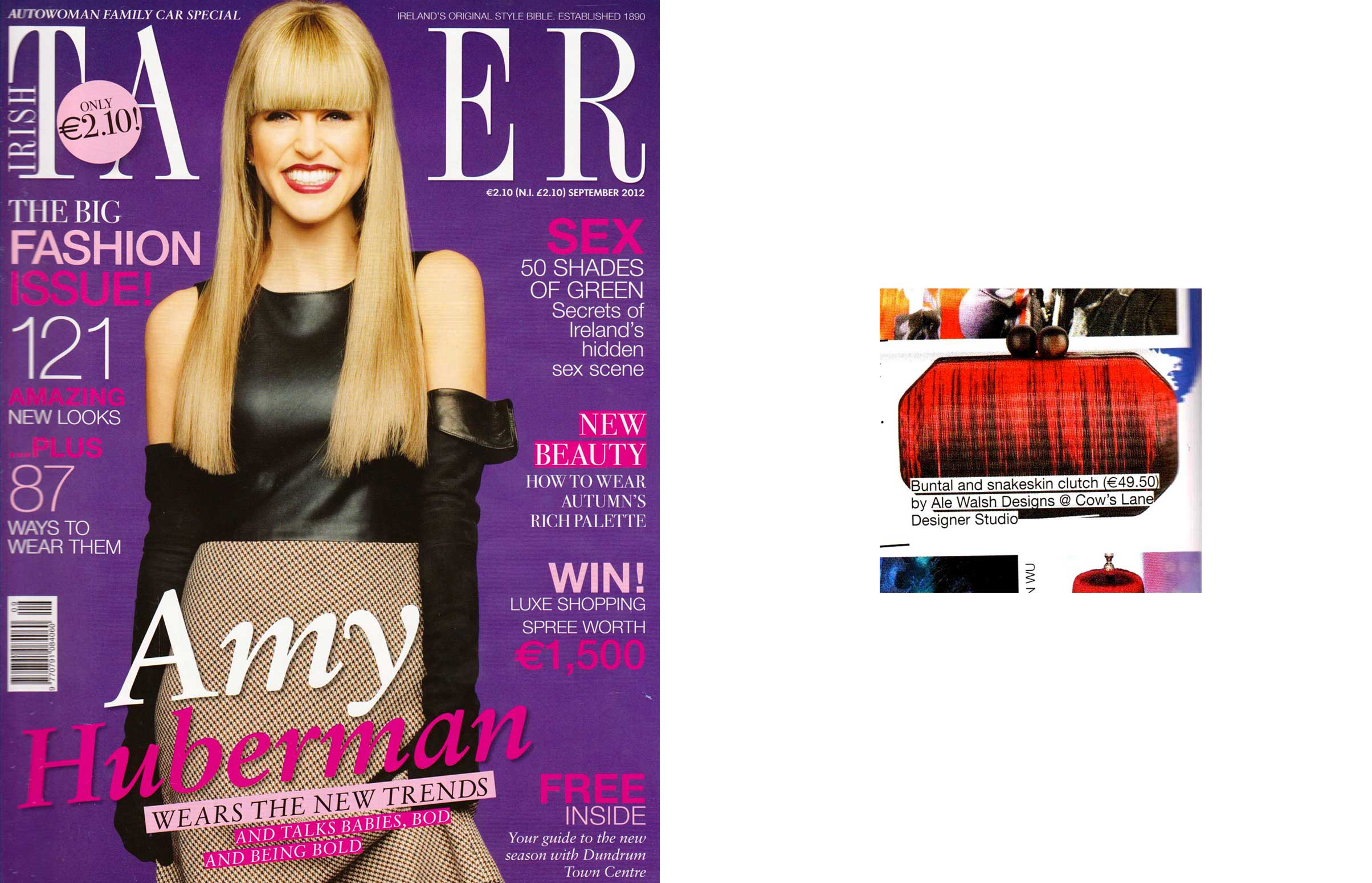 Irish Tatler Magazine Cover and fashion article featuring Ale Walsh Designer Handbag