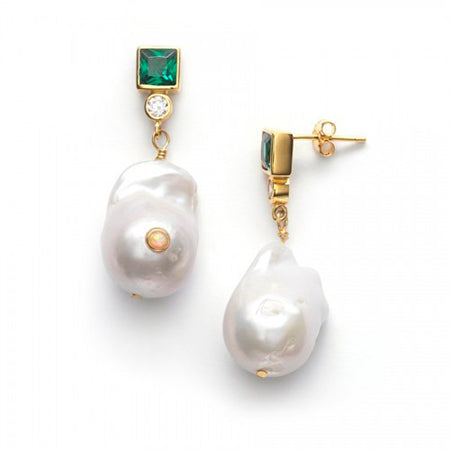 ANNI LU BAROQUE PEARL BLING EARRINGS | Farge : Posey Green