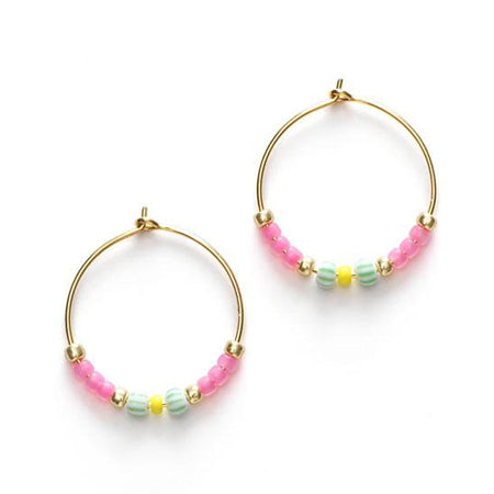 ANNI LU Peppy Hoop Earrings Geranium Pink