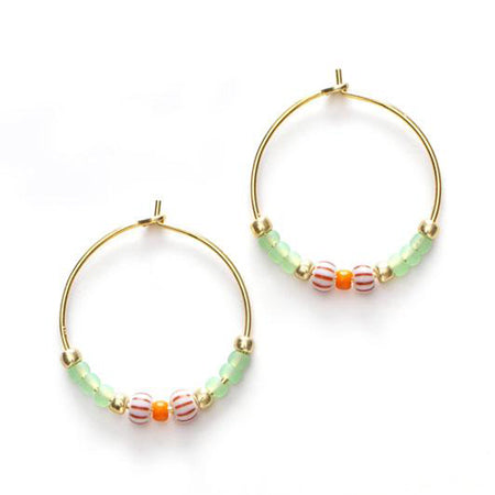 ANNI LU Peppy Hoop Earrings Green Lilly
