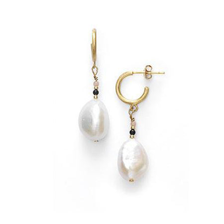 ANNI LU Peppy Baroque Pearl Earrings Grey Mist