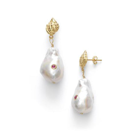 ANNI LU Baroque Pearl Shell Earrings Ruby
