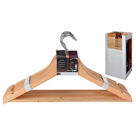 CLOTHES HANGER SET WOOD 8PCS KOP-321