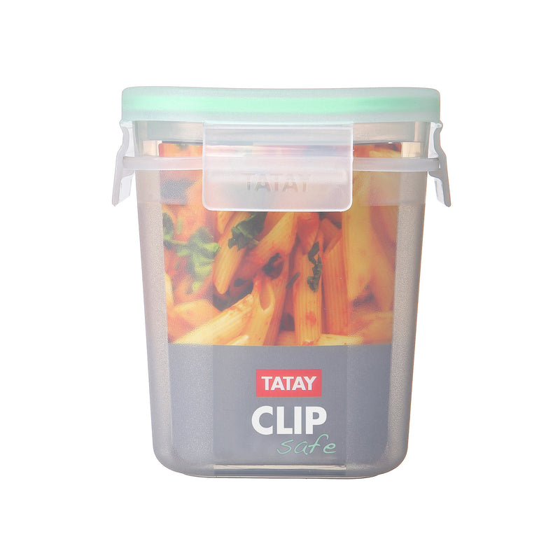 SQUARE FOOD CONTAINER 0.7 L CLICK CLACK TRANS GREEN - TAT-338