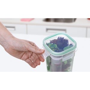 SQUARE FOOD CONTAINER 1 L CLICK CLACK TRANS GREEN - TAT-340