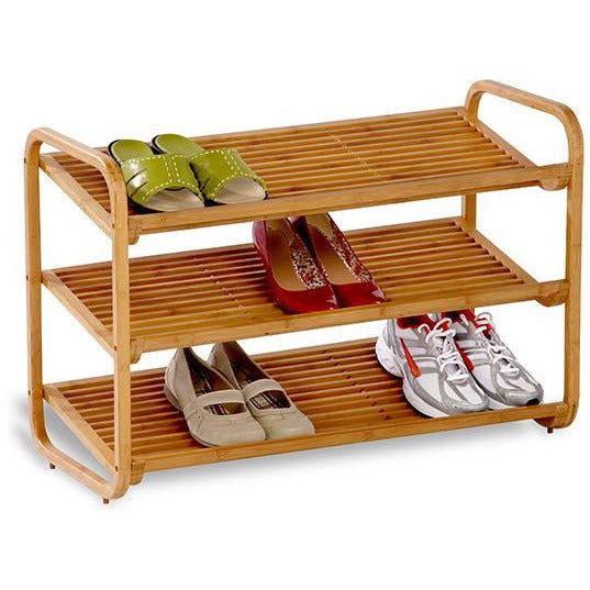 3 Shelf Deluxe Bamboo Shoe Rack HON-020