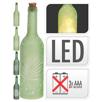 BOTTLE FROSTED GLASS WITH LEAF KOP-492
