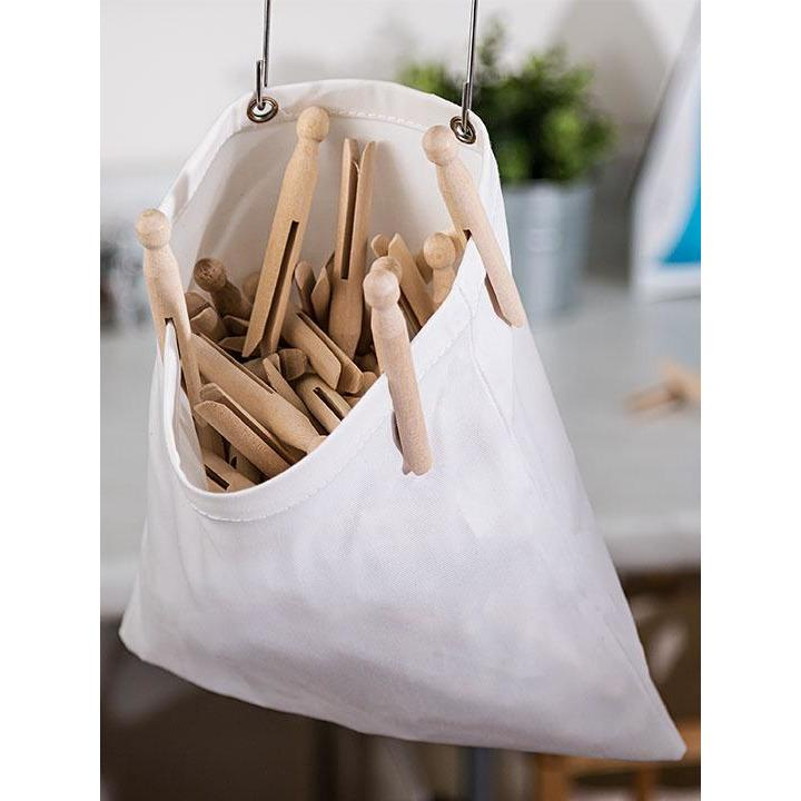 CLOTH PIN BAG WHITE - HON-063