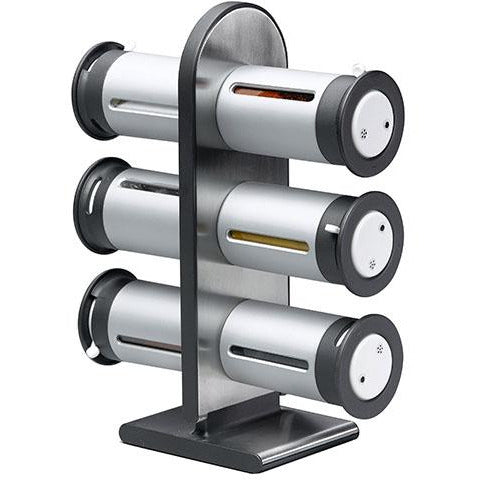 MAGNETIC SPICE RACK 6 CANISTER S/G - HON-078