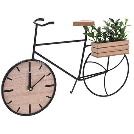 TABLE CLOCK METAL WOOD BIKE KOP-496