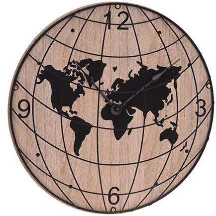 WALLCLOCK WOOD METAL WORLD KOP-312