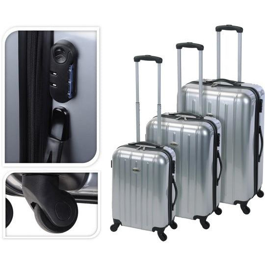 TROLLEY SET OF 3 PCS SILVER KOP-077
