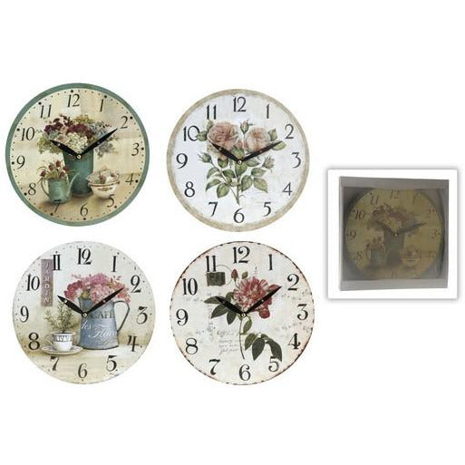 WALL CLOCK 28CM FLOWER DESIGN KOP-096