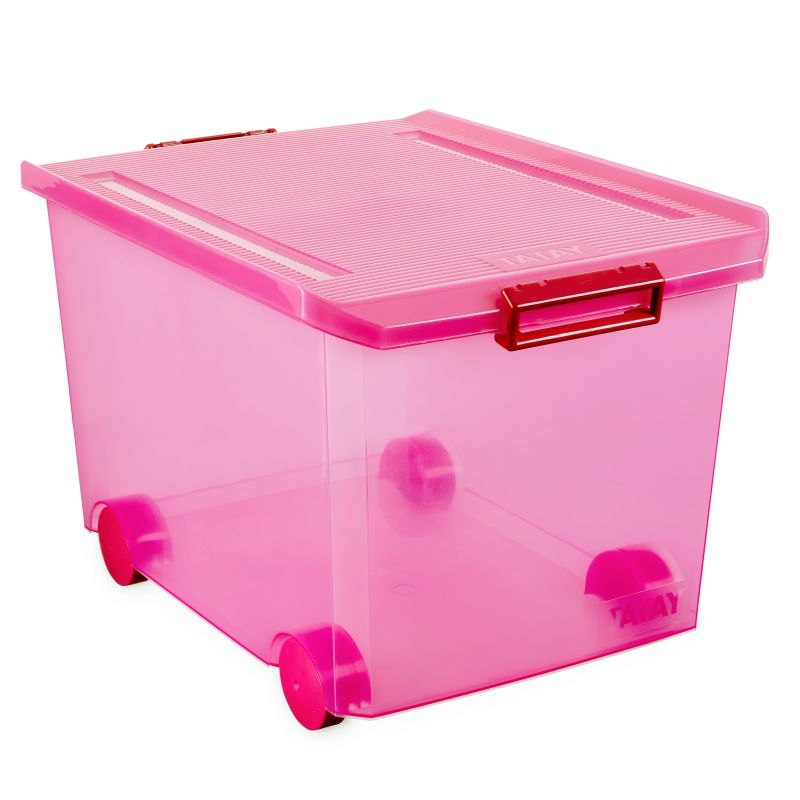 STORAGE BOX W/WHEELS 60L. FUCHSIA - TAT-573