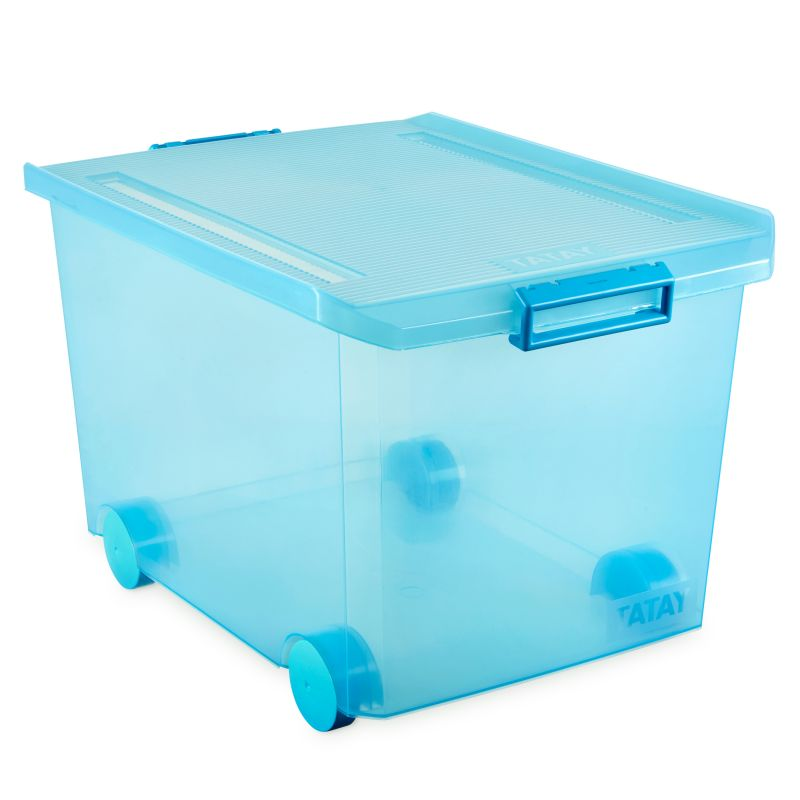 STORAGE BOX W/WHEELS 60L. TURQUOISE - TAT-574