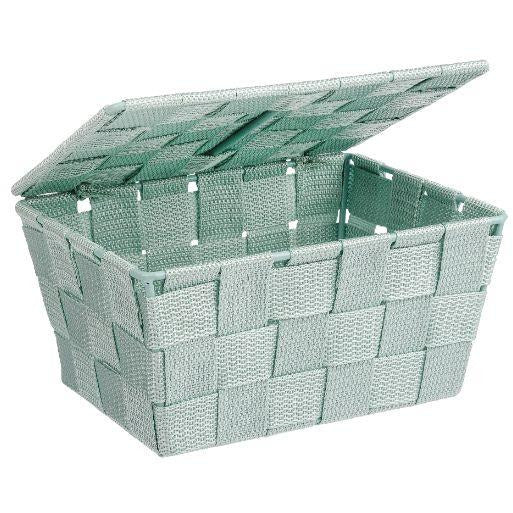 Bathroom basket with lid Adria, mint