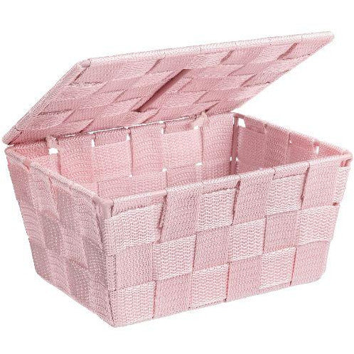 Bathroom basket with lid Adria, rose
