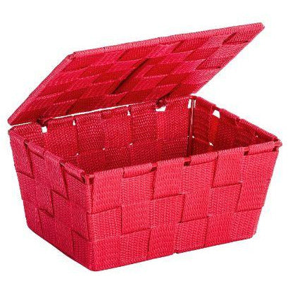Bathroom basket with lid Adria, red