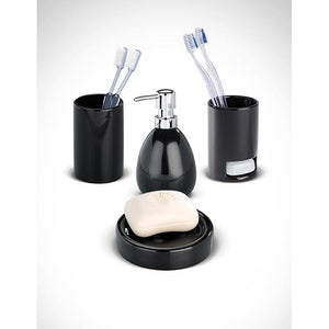 04 Piece Ceramic Black Bathroom Set WEN-078