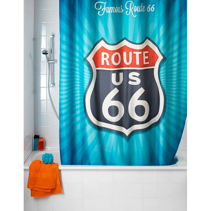 Vintage Route 66 Anti-Mould Shower Curtain, WEN-019