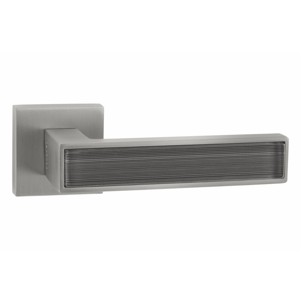 Handle on Straight Square Rose w/ Straight Square Key Escutcheons MSN - STYLISH GREY