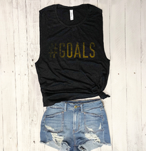 Load image into Gallery viewer, Sale! Goals... Black Slub Workout Muscle Tee