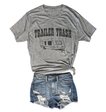 Load image into Gallery viewer, TRAILER TRASH... Heather Grey Unisex Triblend Tee